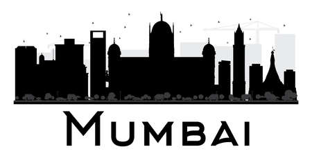 bombay: Mumbai City skyline black and white silhouette. Vector illustration. Simple flat concept for tourism presentation, banner, placard or web site. Business travel concept. Cityscape with landmarks