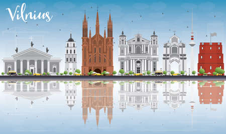 Vilnius Skyline with Gray Landmarks, Blue Sky and Reflections. Vector Illustration. Business Travel and Tourism Concept with Historic Buildings. Image for Presentation Banner Placard and Web Site.  イラスト・ベクター素材