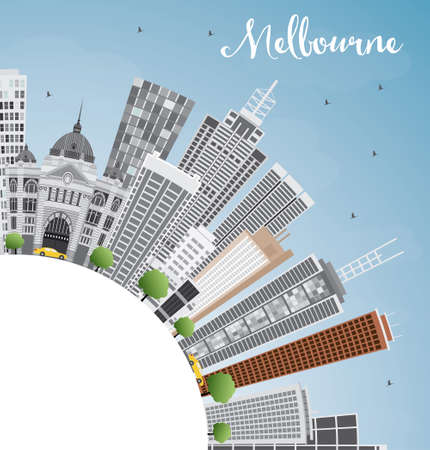 melbourne: Melbourne Skyline with Gray Buildings and Blue Sky. Vector Illustration. Business Travel and Tourism Concept with Copy Space. Image for Presentation Banner Placard and Web Site.