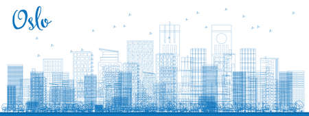 Outline Oslo Skyline with Blue Buildings. Vector Illustration. Business travel and tourism concept with modern buildings. Image for presentation, banner, placard and web site. Imagens - 54921488