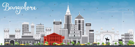 karnataka: Bangalore Skyline with Gray Buildings and Blue Sky. Vector Illustration. Business Travel and Tourism Concept with Historic Buildings. Image for Presentation Banner Placard and Web Site.