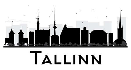 Tallinn City skyline black and white silhouette. Vector illustration. Simple flat concept for tourism presentation, banner, placard or web site. Business travel concept. Cityscape with landmarks