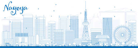 Outline Nagoya Skyline with Blue Buildings. Vector Illustration. Business and Tourism Concept with Modern Buildings. Image for Presentation, Banner, Placard or Web Site.