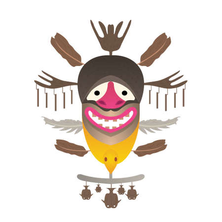 indian fish: Tribal Mask with feather and fish. Vector illustration. Isolated on white background.