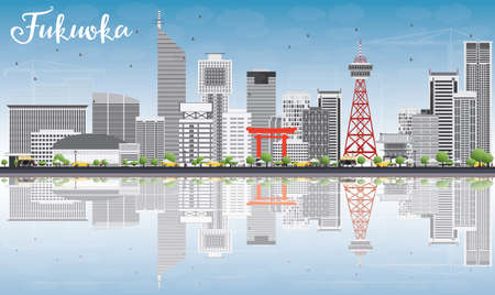 Fukuoka Skyline with Gray Landmarks, Blue Sky and Reflections. Vector Illustration. Business Travel and Tourism Concept with Historic Buildings. Image for Presentation Banner Placard and Web Site.