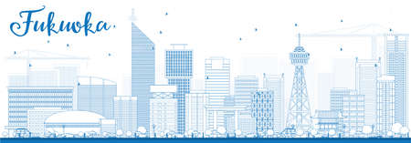 Outline Fukuoka Skyline with Blue Landmarks. Vector Illustration. Business Travel and Tourism Concept with Historic Buildings. Image for Presentation Banner Placard and Web Site.
