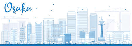 Outline Osaka Skyline with Blue Buildings. Vector Illustration. Business and Tourism Concept with Modern Buildings. Image for Presentation, Banner, Placard or Web Site.