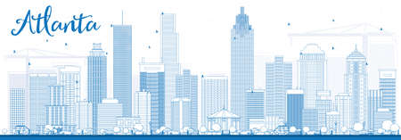 Outline Atlanta Skyline with Blue Buildings. Vector Illustration. Business Travel and Tourism Concept with Modern Buildings. Image for Presentation Banner Placard and Web Site. Vectores