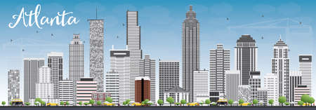 atlanta tourism: Atlanta Skyline with Gray Buildings and Blue Sky. Vector Illustration. Business Travel and Tourism Concept with Modern Buildings. Image for Presentation Banner Placard and Web Site. Illustration