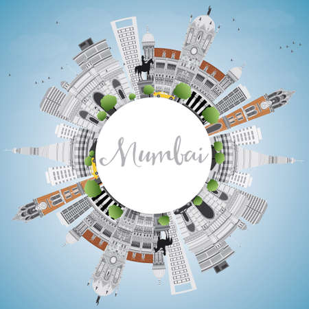 Mumbai Skyline with Gray Landmarks and Blue Sky. Vector Illustration. Business Travel and Tourism Concept with Copy Space. Image for Presentation Banner Placard and Web Site. Illustration