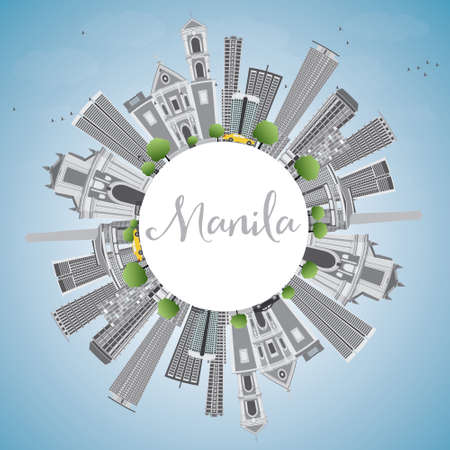 manila: Manila Skyline with Gray Buildings and Blue Sky. Vector Illustration. Business Travel and Tourism Concept with Copy Space. Image for Presentation Banner Placard and Web Site. Illustration
