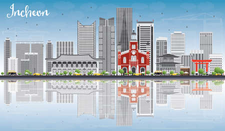 incheon: Incheon Skyline with Gray Buildings, Blue Sky and Reflections. Vector Illustration. Business Travel and Tourism Concept with Modern Buildings. Image for Presentation Banner Placard and Web Site.
