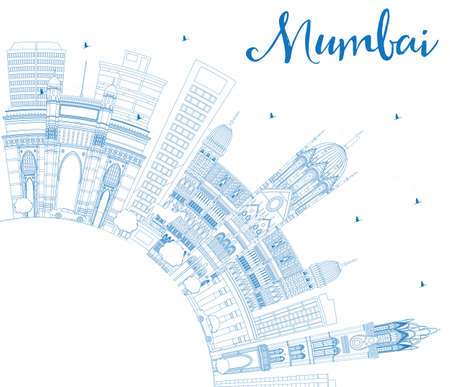 bombay: Outline Mumbai Skyline with Blue Landmarks. Vector Illustration. Business Travel and Tourism Concept with Copy Space. Image for Presentation Banner Placard and Web Site.
