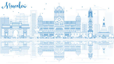 bombay: Outline Mumbai Skyline with Blue Landmarks and Reflections. Vector Illustration. Business Travel and Tourism Concept with Historic Buildings. Image for Presentation Banner Placard and Web Site. Illustration