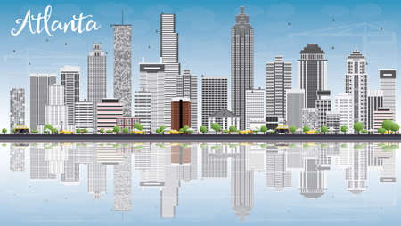 atlanta tourism: Atlanta Skyline with Gray Buildings, Blue Sky and Reflections. Vector Illustration. Business Travel and Tourism Concept with Modern Buildings. Image for Presentation Banner Placard and Web Site.