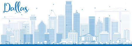 dallas: Outline Dallas Skyline with Blue Buildings. Vector Illustration. Business Travel and Tourism Concept with Modern Buildings. Image for Presentation Banner Placard and Web Site.