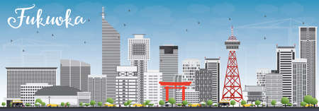 Fukuoka Skyline with Gray Landmarks and Blue Sky. Vector Illustration. Business Travel and Tourism Concept with Historic Buildings. Image for Presentation Banner Placard and Web Site.