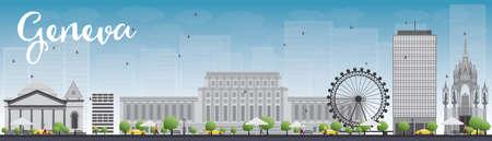 horizonte de Ginebra, con puntos de referencia de grises y cielo azul. Ilustración del vector. Los viajes de negocios y turismo concepto de edificios históricos. Imagen de la presentación, la bandera, el cartel y la página web. Ilustración de vector