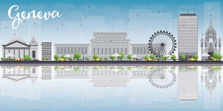 Genf-Skyline mit grauen Sehenswürdigkeiten und blauer Himmel. Vektor-Illustration. Geschäftsreisen und Tourismus-Konzept mit Platz für Text. Bild für die Präsentation, Banner, Plakat und Website.