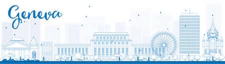 Esquema horizonte de Ginebra con las señales azules. Ilustración del vector. Los viajes de negocios y turismo concepto de edificios históricos. Imagen de la presentación, la bandera, el cartel y la página web.