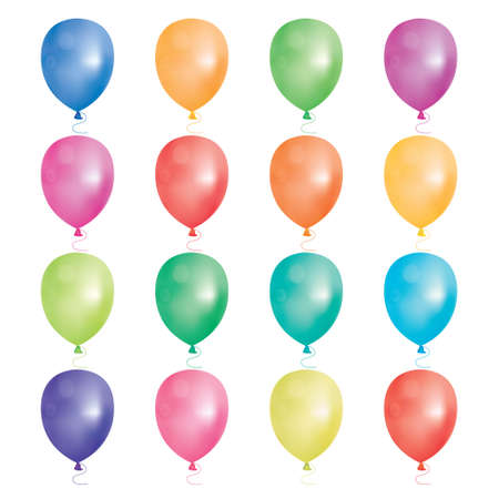carnaval: Set of 16 party balloons. Vector illustration. Balloons different colors isolated on white background. Illustration