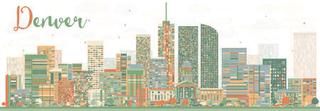 Abstract Denver Skyline with Color Buildings. Vector Illustration. Business Travel and Tourism Concept with Modern Buildings. Image for Presentation Banner Placard and Web Site.
