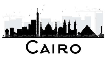 cairo: Cairo City skyline black and white silhouette. Vector illustration. Simple flat concept for tourism presentation, banner, placard or web site. Business travel concept. Cityscape with landmarks Illustration