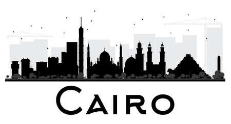 Cairo City de noir de l'horizon et la silhouette blanche. Vector illustration. concept de plat simple pour le tourisme présentation, bannière, affiche ou d'un site web. concept de Voyage d'affaires. Paysage urbain avec des repères