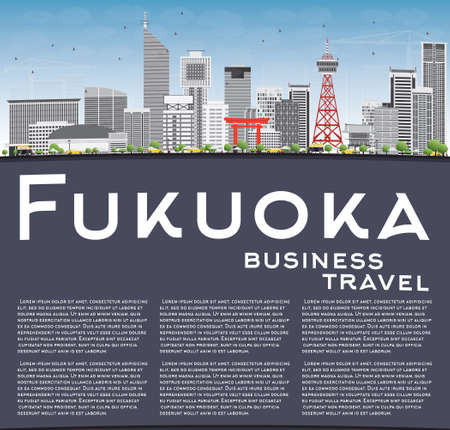 Fukuoka Skyline with Gray Landmarks, Blue Sky and Copy Space. Vector Illustration. Business Travel and Tourism Concept with Historic Buildings. Image for Presentation Banner Placard and Web Site.
