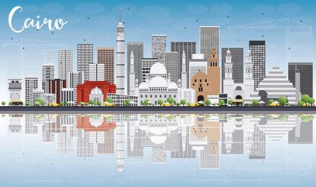 Cairo Skyline avec gris Bâtiments, Blue Sky et réflexions. Vector Illustration. Voyage d'affaires et du tourisme Concept avec des bâtiments historiques. Photo pour Présentation Bannière Pancarte et du site Web.