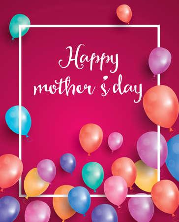 Carte de fête des mères heureux avec cadre blanc et ballon volant. Illustration vectorielle Vecteurs