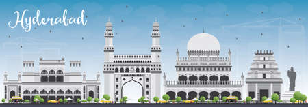 Hyderabad Skyline with Gray Landmarks and Blue Sky. Vector Illustration. Business Travel and Tourism Concept with Historic Buildings. Image for Presentation Banner Placard and Web Site. Vetores