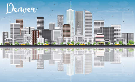denver buildings: Denver Skyline with Gray Buildings, Blue Sky and Reflections. Vector Illustration. Business Travel and Tourism Concept with Modern Buildings. Image for Presentation Banner Placard and Web Site. Illustration