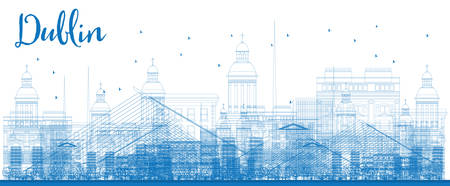 irish landscape: Outline Dublin Skyline with Blue Buildings. Vector Illustration. Business travel and tourism concept with historic buildings. Image for presentation, banner, placard and web site.