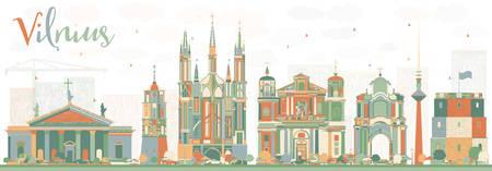 色のランドマークと抽象的なビリニュスのスカイライン。ベクトルの図。ビジネス旅行と観光概念の歴史的建造物。プレゼンテーション バナー プラ