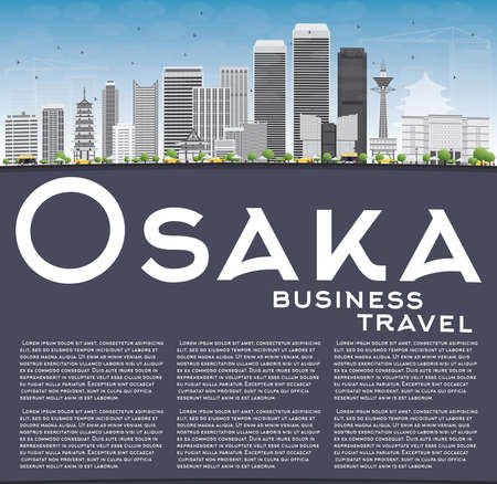 tv tower: Osaka Skyline with Gray Buildings, Blue Sky and Copy Space. Vector Illustration. Business and Tourism Concept with Modern Buildings. Image for Presentation, Banner, Placard or Web Site.