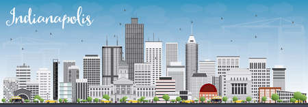 indianapolis: Indianapolis Skyline with Gray Buildings and Blue Sky. Vector Illustration. Business Travel and Tourism Concept with Modern Buildings. Image for Presentation Banner Placard and Web Site.