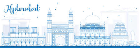 Outline Hyderabad Skyline with Blue Landmarks. Vector Illustration. Business Travel and Tourism Concept with Historic Buildings. Image for Presentation Banner Placard and Web Site.