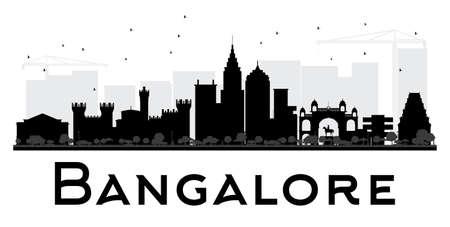 Bangalore City skyline zwart en wit silhouet. Vector illustratie. Eenvoudige vlakke concept voor toerisme presentatie, banner, aanplakbiljet of website. Zakenreizen concept. Cityscape met oriëntatiepunten Stock Illustratie
