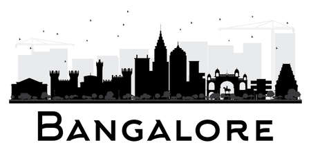 Bangalore City skyline black and white silhouette. Vector illustration. Simple flat concept for tourism presentation, banner, placard or web site. Business travel concept. Cityscape with landmarks