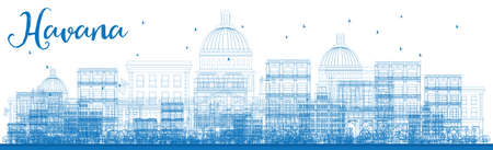 havana: Outline Havana Skyline with Blue Buildings. Vector Illustration. Business travel and tourism concept with historic buildings. Image for presentation, banner, placard and web site. Illustration
