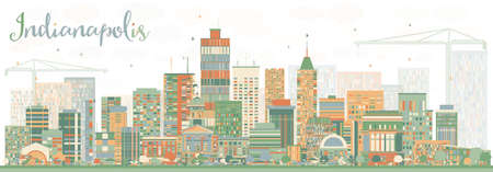 indianapolis: Abstract Indianapolis Skyline with Color Buildings. Vector Illustration. Business Travel and Tourism Concept with Modern Buildings. Image for Presentation Banner Placard and Web Site.