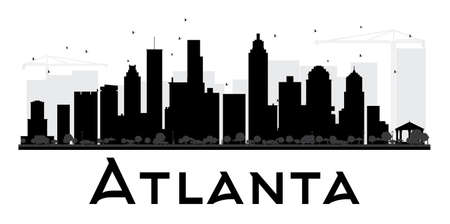 atlanta tourism: Atlanta City skyline black and white silhouette. Vector illustration. Simple flat concept for tourism presentation, banner, placard or web site. Business travel concept. Cityscape with landmarks