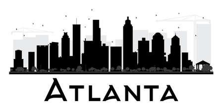 Skyline van de stad van Atlanta zwart en wit silhouet. Vector illustratie. Eenvoudig plat concept voor toeristische presentatie, banner, plakkaat of website. Zakelijke reizen concept. Stadsgezicht met bezienswaardigheden