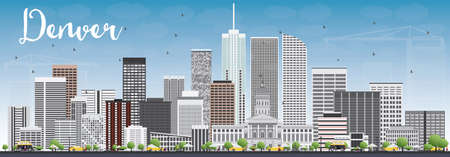 denver skyline: Denver Skyline with Gray Buildings and Blue Sky. Vector Illustration. Business Travel and Tourism Concept with Modern Buildings. Image for Presentation Banner Placard and Web Site.