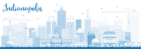 indianapolis: Outline Indianapolis Skyline with Blue Buildings. Vector Illustration. Business Travel and Tourism Concept with Modern Buildings. Image for Presentation Banner Placard and Web Site. Illustration