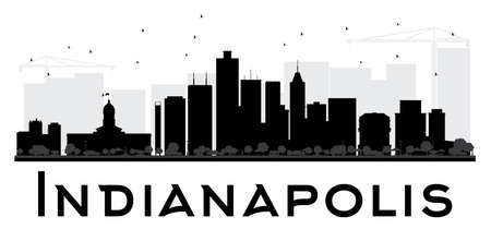 indianapolis: Indianapolis City skyline black and white silhouette. Vector illustration. Simple flat concept for tourism presentation, banner, placard or web site. Business travel concept. Cityscape with landmarks Illustration