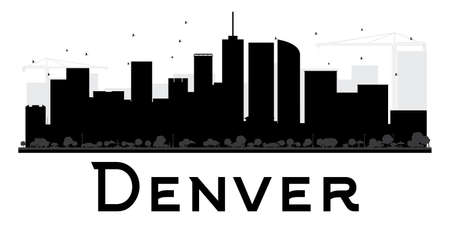 Denver City skyline black and white silhouette. Vector illustration. Simple flat concept for tourism presentation, banner, placard or web site. Business travel concept. Cityscape with landmarks Illustration