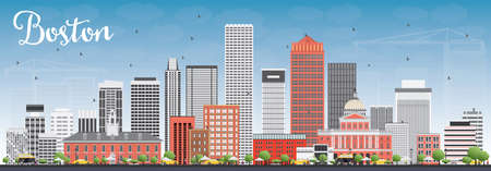 Boston Skyline with Gray and Red Buildings and Blue Sky. Vector Illustration. Business Travel and Tourism Concept with Modern Buildings. Image for Presentation Banner Placard and Web Site.
