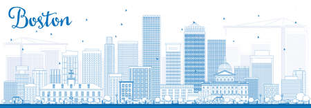 Outline Boston Skyline with Blue Buildings. Vector Illustration. Business Travel and Tourism Concept with Modern Buildings. Image for Presentation Banner Placard and Web Site. Illustration
